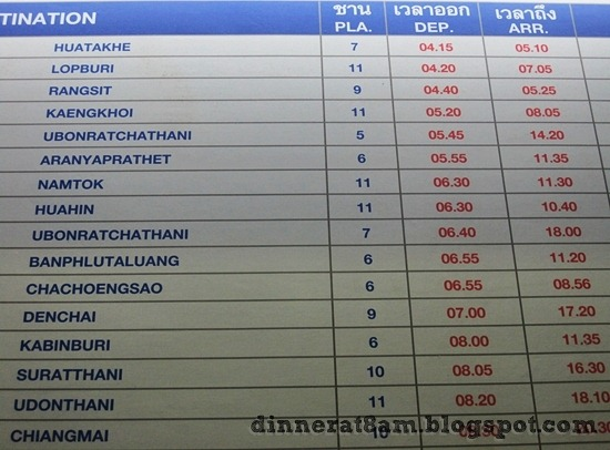 Bangkok Train Station schedule