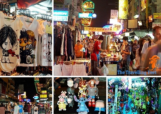 Bangkok night shopping at Khao San Road