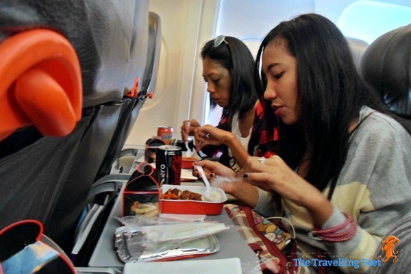 enjoying lunch on board Air Asia bound for Cebu from KL
