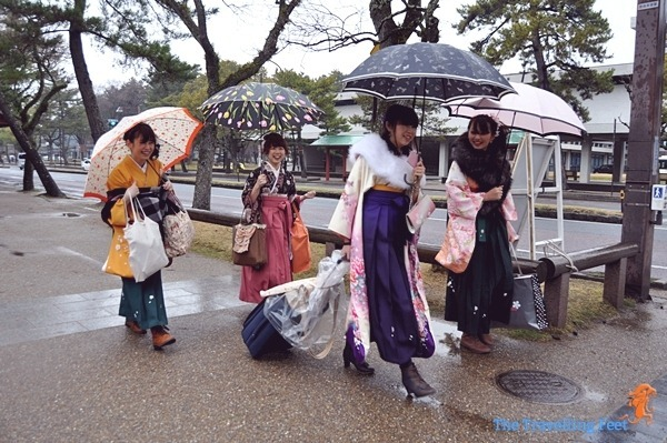 Japanese women walking to Nara Park